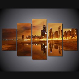 Wholesale Framed Asian Art - 5 Pcs Set No Framed HD Printed chicago late evening Painting Canvas Print room decor print poster picture canvas asian modern art