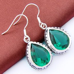 Wholesale Dangling Crystal Ear Cuffs - Hot Sale Rushed Ear Cuff South American Asian & East Indian Gift Party Wedding 2 Piece lot Crystal Drop Earrings Green Amethyst E0021