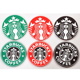 Wholesale Mug Pad - Free DHL 500pcs lot Table decoration Starbucks logo Mermaid silicone coaster round platemat mugs coffee cup mat pad black red green