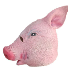 Wholesale Halloween Pig Costume - Cute Animal Pig Mask Full Head Latex Masks Halloween Masquerade Swine Rubber Masks Carnival Party Cosplay Costume Props Adults