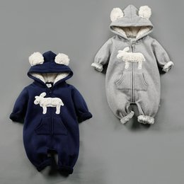 Wholesale Infants Rompers Baby Animal - NEW 2 Design infant Kids Winter Cashmere Romper Stereo Little Sheep long sleeve baby warm Climb clothe boy girls Winter Rompers set RMY40