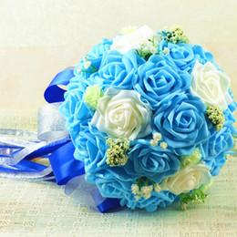 Wholesale Purple Carnations - Wedding Supplies Ribbon Purple Blue PE Roses Buque De Noiva Wedding Flowers Bridal Bouquets Wedding Accessories