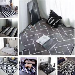 Wholesale Brown Area - 40x60cm European style grey color stripe Area rugs bedroom Mat Non-slip Floor Rug super soft Decorative antistat Carpet for living room