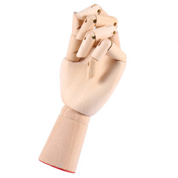 "Wholesale Wooden Toy Joints - 7"" 18CM Modle Left Hand for Mannequin Decoration Wood Crafts painting Wood Figure joint Wooden Cartoon Hand"