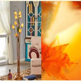 Wholesale Wrought Iron Floor Lamps - Flower Floor Lamps Wrought Iron Glass Art Deco Floor Lamp Dining Room Light Nordic Pastoral Creative