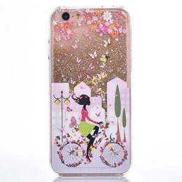 Wholesale Dirt Bike Plastic - Dynamic Magical Liquid Glitter Quicksand Hard Case For Iphone 6S 6 Plus I6 I6S SE 5 5S Bike Pretty Girl Skin Cover Butterfly Flower 5pcs