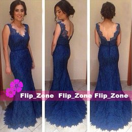 Wholesale Navy Belt Dress - Dark Navy Blue Full Lace 2016 Mermaid Evening Dresses with Sheer V-Neck Straps Backless Belt Sweep Train Plus Size Prom Party Formal Gowns