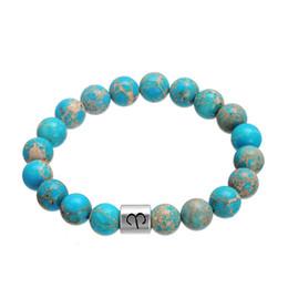 Wholesale Celtic Wholesale Products - New Product Zodiac Alloy Charm Bangles Elegant Great Sky Blue Turquoise Stone Beads Bracelet Constellation Pattern Wristbands