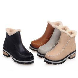 Wholesale Short Plush Snow Boots - Fashion Women Winter Snow Boots Plush Mid Heel Slip on Square Heel Short Ankle Boots Warm Western Women Shoes Size 34-39