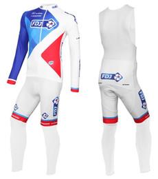 Wholesale Cycling Long Pants Jerseys - 2017 FDJ White Long Sleeve Cycling Jersey And Bib Pants Set,MTB Cycling Clothing