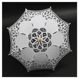Guarda-sol de algodão on-line-Venda por atacado- 1X Algodão Branco Vintage Handmade Parasol Lace Sun Umbrella Wedding Party Nupcial
