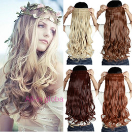 Wholesale Synthetic Hair Extensions Wavy - 60CM Clip in Synthetic Hair Extensions Long Wavy Curly Hair One Piece 5 Clips Blonde Brown Smooth