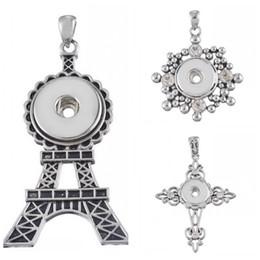 Wholesale Eiffel Tower Buttons - Trendy Snap Pendant Jewelry Eiffel Tower Diamond Cross Shape Noosa Pendant Fit 18mm Snap Noosa Button Mix 3 Style K2L