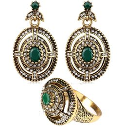 Wholesale Vintage Turquoise Gold Ring - Vintage Look Antique Gold Plated Earrings Ring Oval Turquoise Jewelry Sets Austria Crystal Ring Earring Wedding Jewellery Set