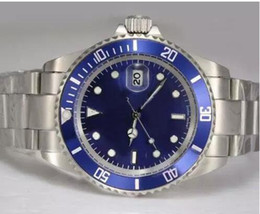 Wholesale Dive Sapphire - Free shipping classic automatic watch top brand luxury watches stainless steel band blue face dive wristwatch mens watches