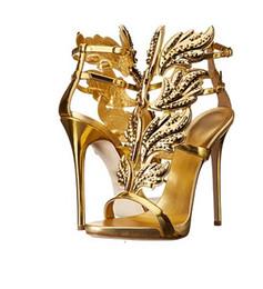 Wholesale Embellished High Heels - Newest 2016 Hot Selling Gold Silver Coline Cruel Embellished Wing High Heel Sandals Brand Gilded Cage Sandals Women Size 34-42
