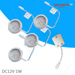 Wholesale 1w 12v Led Cabinet - Nice DC 12v 4pcs 1W LED Puck Cabinet Light,LED spotlight with 9pcs 2835 leds+1pcs connector line(without power supply)