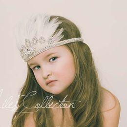 Wholesale Diamond Feather Headband - Luxury Girls Bohemia Glitter Crown Headband girls Feather Headbands Girls Baby Princess Diamond Beading Hair Accessories K7047
