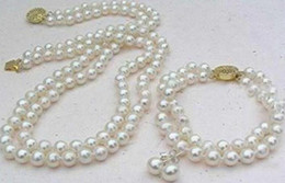 Wholesale Double Strand Pearl Necklace Bracelet - Charming double strand 9-10mm Akoya white pearl necklace 18 inch 14K gold clasp free bracelet earring