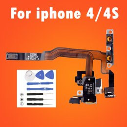 Wholesale Iphone Volume Switch - 4G 4S Headphone Audio Jack Ribbin Power Volume Switch Flex Cable For iPhone 4 4S Replacement Repair Parts 1PCS Lot