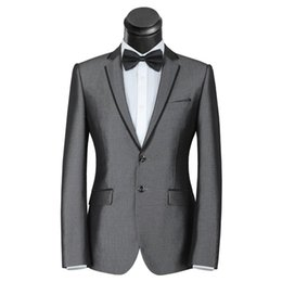 Wholesale Groom Suit Men Popular - Wholesale-Popular Style Two Button Grey Groom Tuxedos Groomsmen Men's Wedding Prom Suits Bridegroom (Jacket+Pants+Bow Tie) K:1098