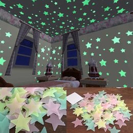 Wholesale Decal Baby Room - 100pcs Wall Decals Glow In The Dark Nursery Room Color Stars Luminous Fluorescent Wall Stickers Baby Kids Bedroom Home Decor