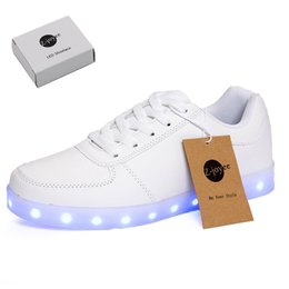 Wholesale Kids Slip Leather Shoes - LED Light Up Shoes Fashion Sneaker for Men Women Kids Child Boy Girls Slip-on with 11 Color Modes lot drop shipping