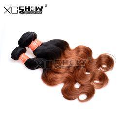 Wholesale Brazillian Body Wave 4pcs - Body Wave 2Tone Brazilian Hair Extension Two Tone Brazillian Hair 1B 30 7A Virgin Ombre Indian Hair Mix Length 4pcs lot 400g