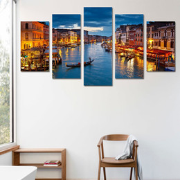 Wholesale Painting Boats - HD Printed 5 piece canvas art paintings Venice water city boat light room decor canvas wall art posters and prints ny-6206
