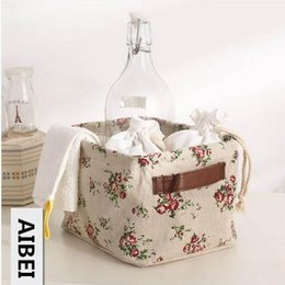 Wholesale Storage Baskets Japanese - AIBEI-ZAKKA Double handle Cotton and Linen flax Storage Basket Japanese Style book Toy store content Storage Box