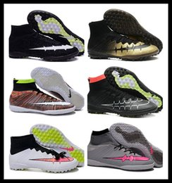 Wholesale Cheap Soccer Balls - 2016 New High Tops Indoor Soccer Shoes Men Sports Ball Boots Fashion Ankle Net Football Cleats IC Turf TF Athletic Sneakers Cheap Dropship
