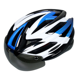 Wholesale Led Blue Magnetic - Wholesale-LED Waring Lights Bicycle Helmet Magnetic Goggles Cycling Helmet Road Mountain Bike Helmet Helmet With Lens Casco Ciclismo
