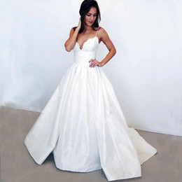 Wholesale White Taffeta Empire Wedding Dresses - Elegant Spaghetti Straps Lace Wedding Dresses 2018 A-Line Bridal Gowns sexy taffeta white modest wedding gowns plus size Vestios De Novia