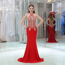 Wholesale Girl Sexy Stockings - Stock Real Picture Red Evening Dress Mermaid 2017 High Neck Lace Applique Black Girl African Prom Party Dresses Formal Wear Plus Size
