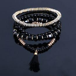 Wholesale Ethnic Charms Beads - New Bohemian Ethnic Multi-layer Beads Tassel Elastic Men Charm Bracelets for Women Cuff Boho Fashion bracelets Jewelry
