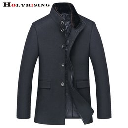 Wholesale Mens Black Leather Winter Overcoats - Fall-Luxury Mens Wool Winter Jacket Long Woolen Men's Overcoat Leather Collar Warm Wool Outwear For Men Black Coat 4 Style