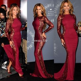 Wholesale Video Light Red - Beyonce Video Music Awards Celebrity Dresses With Long Sleeve Crew Sweep Train Red Carpet Beading Evening Gowns Backless Formal Dress 2016