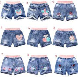 Wholesale Demin Shorts Girls - Cute Kids Girls Shorts Lace Pants Casual Demin Short Pants Trousers Girls Denim Shorts 9 design 5-10Y free ship