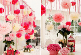 Wholesale pompom paper - Paper Pompoms Tissue Paper Pom Poms Wedding Party Baby Living Room Decoration Home Pompoms Wedding Paper Garland Paper Flower Ball
