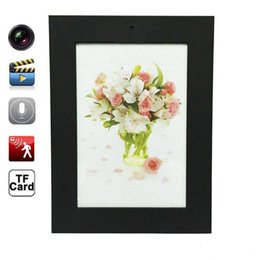 Wholesale Hidden Audio Recorders - Photo Frame Mini Spy Camera HD Spy Hidden Camera Motion Detection Wooden Photo Frame Audio recorder