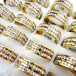 Wholesale Engagement Bague - 10Pcs Finger Gold Double Engagement Wedding Rings for Women Vintage Anillo Bague Bijoux Dames Lot Femme Fashion Jewelry LR424