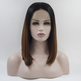 Wholesale Cheap Lace Wigs Free Shipping - Black to brown ombre short bob wig synthetic lace front wig cheap heat resistant synthetic lace frontal wig for women free shipping
