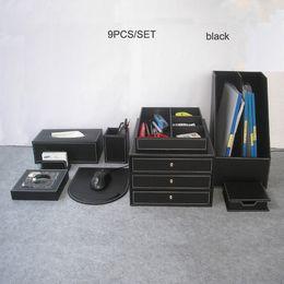 Wholesale Wood File Cabinets - Wholesale- 9PCS  set wood leather office desk file stationery accessories & organizer storage drawer pen holder file cabinet case K204A