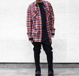 Wholesale Men Shirt Popular - Wholesale-2016 US Hip Hop Most popular justin bieber fear of god fog Men unisex flannel Long-sleeved plaid oversized dress shirt in red