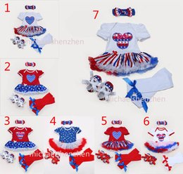 Wholesale Girl Suit Flag - Baby american flag Christmas Xmas rompers 4pcs suits set 7 Design girl stars Short sleeve rompers Hair band shoes baby dress B001