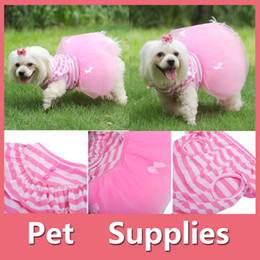 Wholesale Gauze T Shirt - Pet Dog Pink Princess Dress Stripe Bowknot Gauze Tutu Skirt Clothing Styling With 4 Size S-XL