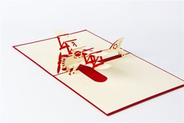Wholesale greeting cards pop - 3d handmade pop up greeting cards plane design thank you airplane birthday cards suit for boy friend kids free shipping
