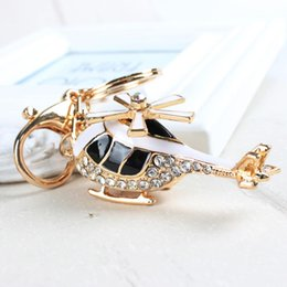 Wholesale Mini Helicopter Gift - Mini Plane Helicopter Charm Pendant Lovely Crystal Purse Bag Car Keyring Key Chain Jewelry friend Gift
