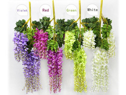 Wholesale vine red flowers - 1.1 Meter Long Elegant Artificial Silk Flower Wisteria Vine Rattan For Wedding Centerpieces Decorations Bouquet Garland Home free DHL