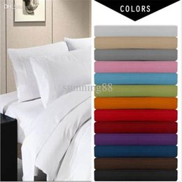 Wholesale Beds King Size Sets - Wholesale-Deep Pocket 4 Piece Bed Sheet Set,solid bedding set,Include Flat sheet,fitted sheet,pillowcase.super king queen twin full size